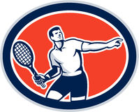 Ovalt Retro för tennisspelareracket Arkivbilder