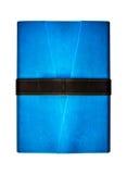 ovanför bakgrund stängde sig den blåa boken isolerat över siktswhite Royaltyfri Fotografi