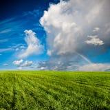 ovanför blåa fältgreenskies Royaltyfri Bild