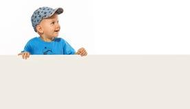 ovanför den gulliga pojken töm isolerat little le white för plakat Arkivfoto