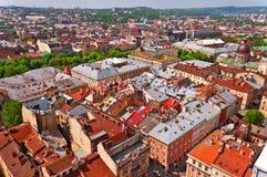 ovanför den stadshuslviv ukraine sikten Royaltyfria Bilder