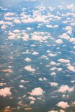 ovanför fönster för sikt för hav för flygplanflugaland Royaltyfria Foton