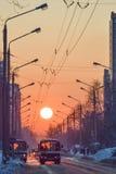 ovanför för sunsolnedgång för ljus päls röda överkanter övervintrar trees Royaltyfria Bilder