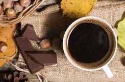 ovanför koppen för svart kaffe arkivfoto