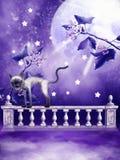 ovanför oklarheter fäkta purplen Arkivfoton