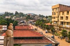 Ovanför sikten av gatalivet i Mizan Teferi, Etiopien Fotografering för Bildbyråer