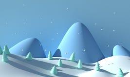 ovanför skogliggande skjuten snowtreesvinter framförande 3d vektor illustrationer