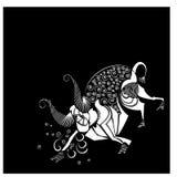 ovanlig abstrakt tjur på en svart bakgrund i rörelse arkivfoto
