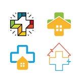 Ovanlig arg vektorlogouppsättning Sjukvårdsymbol Färgrik arg logosamling Arkivfoton