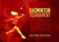 Ovanlig färgrik triangelform Geometrisk polygonal yrkesmässig badmintonspelare, modelldesign, vektorillustration med tomt