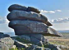 Ovanlig granit vaggar bildande på den Bodmin heden arkivfoto