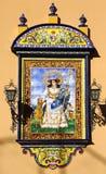 Ovanlig målning av jungfruliga Mary på azulejos, Sevilla Royaltyfria Bilder