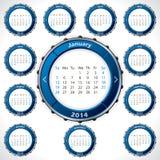 Ovanlig och rotateable design för 2014 kalender Royaltyfri Foto