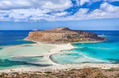 Ovanlig sikt av den Balos fjärden på Kretaön, Grekland royaltyfri fotografi