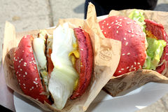 Ovanlig smaklig hamburgare Royaltyfri Bild