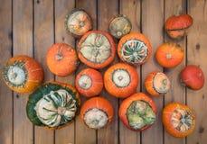 Ovanlig typ av pumpaturbansquash på en träräknare Många orange pumpa på en trätabell Pumpa för en ferie royaltyfri foto