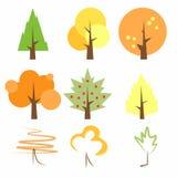 Ovanliga och original- vektorträd Trees i höst Träd i sommar Träd är knapphändiga Träd på våren Mall för logoen Royaltyfri Bild