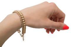 Ovanligt behagfullt guld- armband arkivfoton