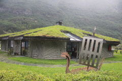 Ovanligt hus med gräs på taket, Norge Arkivbilder