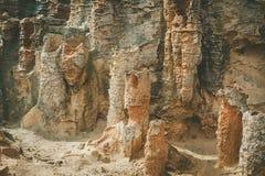 Ovanligt vagga bildandecloseupen på den förstenade skogen, udde Bridgewater, Australien royaltyfria bilder