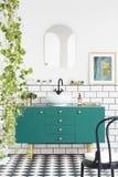 Ovannämnt grönt kabinett för spegel och för affisch i badruminre med svart stol och växter Verkligt foto royaltyfria foton