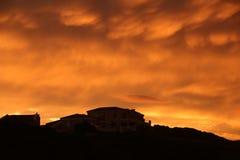 Ovannämnt hus för solnedgång Royaltyfri Fotografi