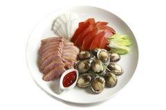Ovas da bandeja, do molusco da califórnia e do salmonete Fotografia de Stock
