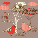 Ove background with birds Stock Photo