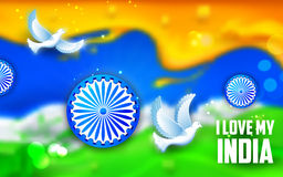 Ove flying with Indian tricolor background. Illustration of dove flying with Indian tricolor flag showing peace Stock Photography