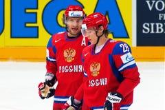 Ovechkin y Semin en WC 2010 de IIHF Foto de archivo