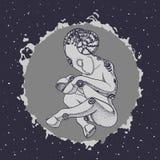 Ovejas antropomorfas el dormir en la bola de la energía en espacio Fotografía de archivo libre de regalías