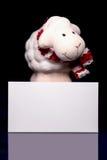 Ovejas con la tarjeta en blanco Foto de archivo libre de regalías