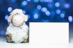 Ovejas con la tarjeta en blanco Fotos de archivo libres de regalías