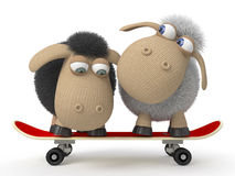 ovejas 3d en un monopatín libre illustration