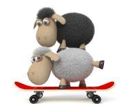 ovejas 3d en un monopatín Imagen de archivo