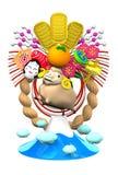 Ovejas, decoración del Año Nuevo y montaña Imagen de archivo libre de regalías