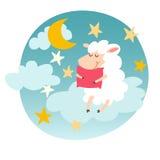 Ovejas el dormir con la almohada en etiqueta engomada del cielo nocturno Sueños dulces Cordero feliz de la historieta Imagen de archivo libre de regalías