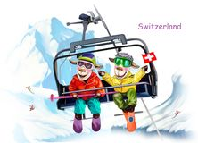 Ovejas en la estación de esquí de Suiza libre illustration