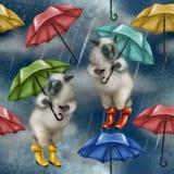 Ovejas en las botas de goma y con un paraguas Modelo inconsútil en el fondo blanco lluvioso cielo nublado oscuro que está llovien ilustración del vector