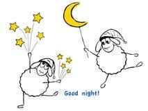 ¡Ovejas, estrellas y luna divertidas, buenas noches! Fotos de archivo