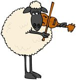 ovejas Negro-hechas frente que tocan un violín ilustración del vector