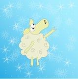 Ovejas pensativas debajo de la nieve ilustración del vector