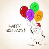 Ovejas que bosquejan divertidas - símbolo del Año Nuevo 2015 Fotos de archivo libres de regalías