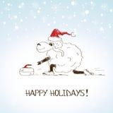 Ovejas que bosquejan divertidas - símbolo del Año Nuevo 2015 Imagen de archivo