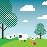 Ovejas que pastan en un pasto con los árboles y los pájaros ilustración del vector