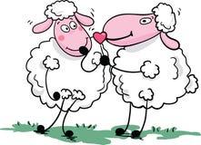 Ovejas románticas stock de ilustración