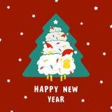 Ovejas y árbol de navidad Foto de archivo libre de regalías
