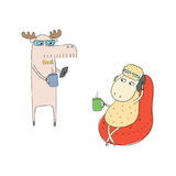 Ovejas y alces en descanso para tomar café stock de ilustración