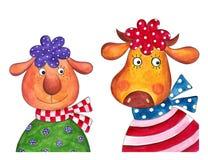 Ovejas y vaca. Personajes de dibujos animados Imágenes de archivo libres de regalías