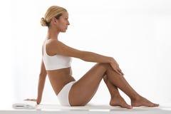 Ovely feminine body in white underwear Royalty Free Stock Image